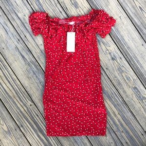 Off the Shoulder Red floral dress